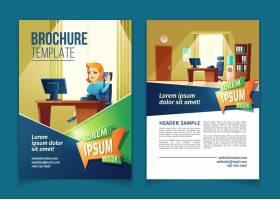 带有带秘书办公室的卡通插图的宣传册模板_3586251