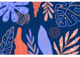 带有热带树叶的抽象背景_8375893