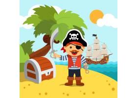 带着宝箱的海盗船长在岛上_1311181