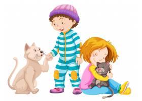 带着宠物猫的儿童_3327476