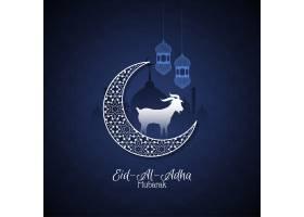 开斋节穆巴拉克美丽的伊斯兰蓝色背景_9319404