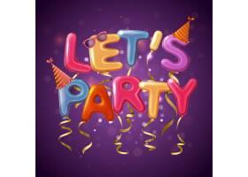 彩色派对气球字母背景让我们在紫色的Find_4280593
