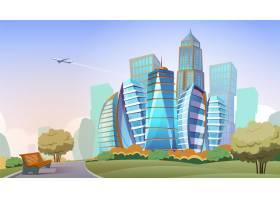 城市景观卡通背景市中心有摩天大楼和公园_2892035