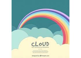 多云的天空背景上有一道美丽的彩虹_986073