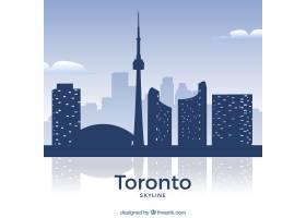 多伦多的天际线为蓝色色调_1933395