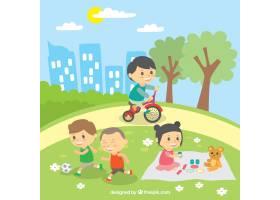 孩子们在户外玩耍的美丽景象_1071483