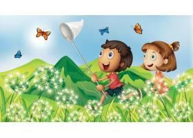 孩子们在花园里抓蝴蝶的自然场景背景_7579283