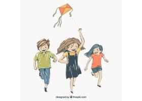 孩子们玩风筝的背景_1071513