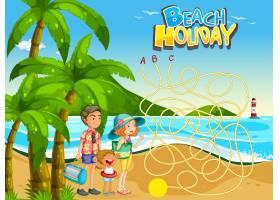 家庭沙滩游戏模板_3591750