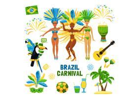 巴西狂欢节孤立图标集_3888771