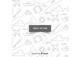 带有元素和虚线的旅行图案_3735296