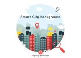 带图标的平面设计中的智慧城市背景_884606