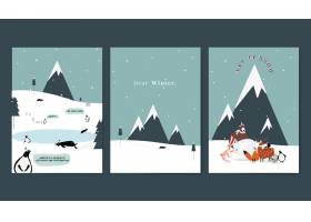 冬季主题明信片设计矢量集_3374676