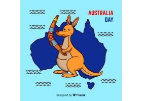 创意澳大利亚日背景与袋鼠_3646743