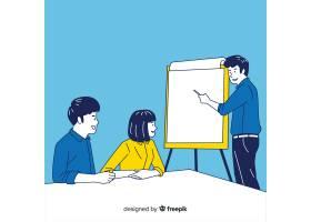 办公室里的商务人士穿着韩国式的画风_5513730