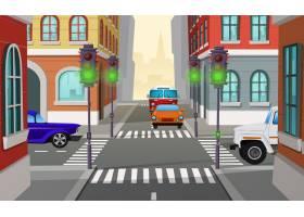 卡通插图有绿灯和汽车的城市十字路口道路_3266599
