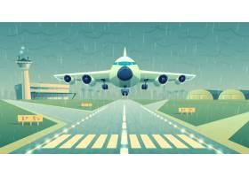 卡通插图白色客机飞机飞过跑道_3519652