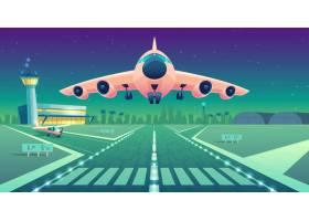 卡通插图白色客机飞机飞过跑道起飞或_3519651