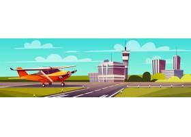 卡通插图跑道上的黄灯飞机飞机的起飞或_3266704