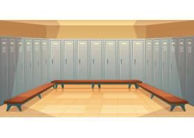 卡通背景有一排排单独的储物柜空的更衣_2891048