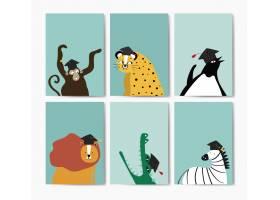 卡通风格矢量中戴毕业帽的可爱动物集合_3780561