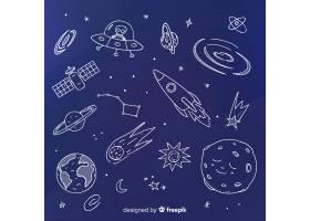 可爱的手绘星系背景_2859805