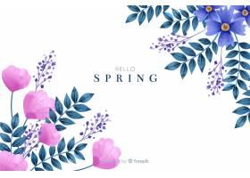 可爱的春天背景水彩花_5837788