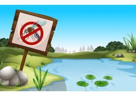 场景背景有池塘没有蚊子的标志_4923716