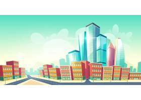 不断增长的未来大都市卡通背景城市老城区_5467512