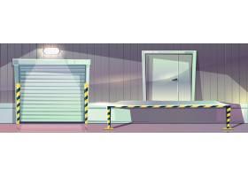 仓库设有卷帘门和卸货码头平台商店的矢量_3519536