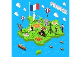 供游客使用的法国等距观光地图_4268133