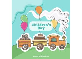 儿童节的背景很棒有可爱的火车和气球_965883