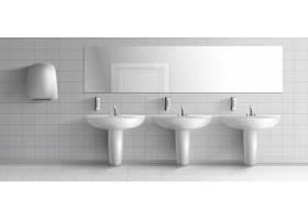 公厕简约室内三维真实感矢量样机一排陶瓷_4393784