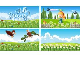 公园里有孩子和动物的四个背景场景_7431845