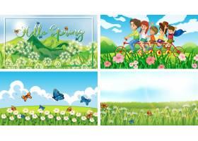 公园里有孩子和动物的四个背景场景_7579215