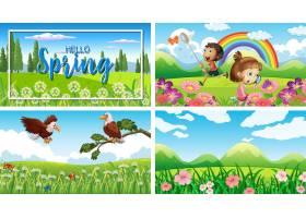 公园里有孩子和动物的四个背景场景_7680192