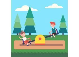 公园里男孩和女孩在跷跷板上荡秋千_1311430