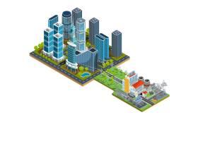 具有摩天大楼和附近发电站的现代城区的矢量_1215817