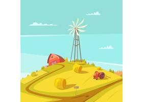 农业和农业背景风车拖拉机房和干草堆矢量_4426124