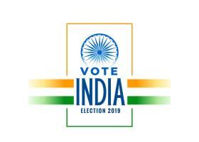 印有三色印度国旗的2019年选举横幅_4144002