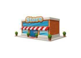 商店杂货店大楼被隔离在白色背景上_3977410