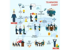 团队协作信息图集包含业务头像和世界地图_1159111