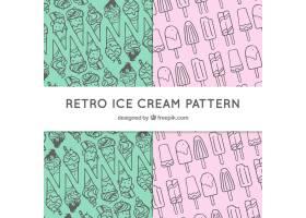 两个带有装饰性冰淇淋的复古图案_1141715