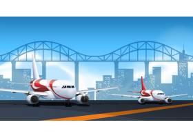 两架飞机停在跑道上_4382453