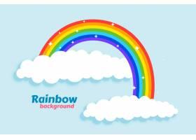 云彩背景的拱形彩虹_4402937