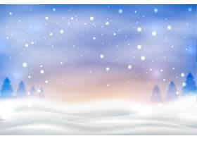 五颜六色的天空背景上的降雪_6436990