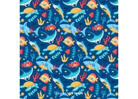 五颜六色的海洋生物图案背景_5231071