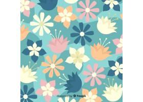 五颜六色的背景有美丽的花朵和花卉图案_5109149