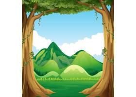 以丘陵为背景的自然风光插图_1109791