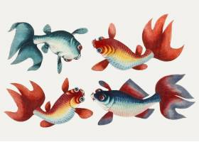 以两条金鱼和两条银鱼为主题的中国画_3593436
